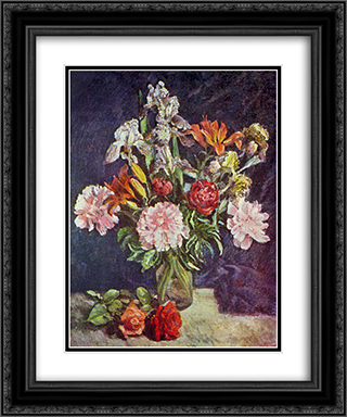 Bouquet of flowers. Peonies, irises, lilies 20x24 Black or Gold Ornate Framed and Double Matted Art Print by Ilya Mashkov