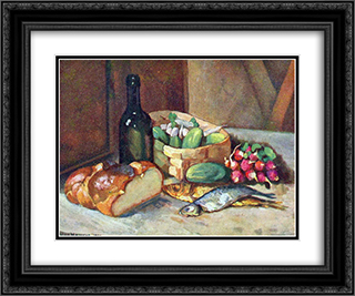 Breakfast (still life) 24x20 Black or Gold Ornate Framed and Double Matted Art Print by Ilya Mashkov