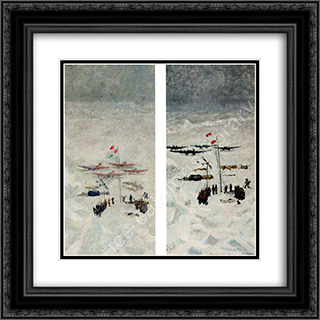 Conquest of the North Pole 20x20 Black or Gold Ornate Framed and Double Matted Art Print by Ilya Mashkov
