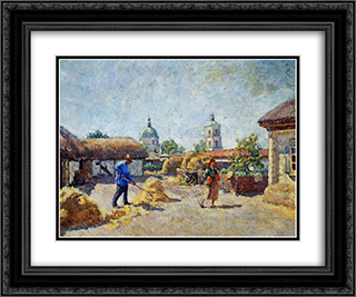 Courtyard in the village Mikhailovskaya 24x20 Black or Gold Ornate Framed and Double Matted Art Print by Ilya Mashkov