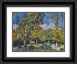 Crimea. Park in Alupka 24x20 Black or Gold Ornate Framed and Double Matted Art Print by Ilya Mashkov