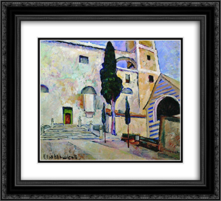Cypress in the cathedral walls. Italy 22x20 Black or Gold Ornate Framed and Double Matted Art Print by Ilya Mashkov