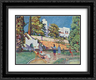 Dulber. Sanatorium 'Krasnye Zori' 24x20 Black or Gold Ornate Framed and Double Matted Art Print by Ilya Mashkov