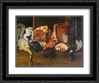Eatables Moscow. Meat, poultry 24x20 Black or Gold Ornate Framed and Double Matted Art Print by Ilya Mashkov