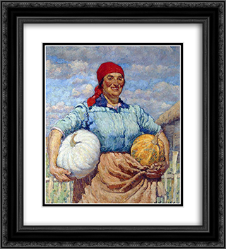 Farmer with pumpkins 20x22 Black or Gold Ornate Framed and Double Matted Art Print by Ilya Mashkov