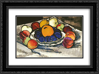 Fruit on the plate 24x18 Black or Gold Ornate Framed and Double Matted Art Print by Ilya Mashkov