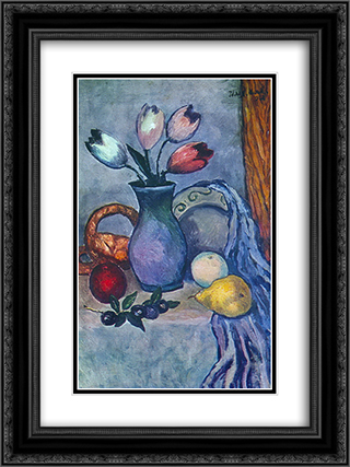 Fruits and Tulips 18x24 Black or Gold Ornate Framed and Double Matted Art Print by Ilya Mashkov