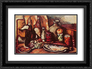 Game, fish, pickles (Still Life with pheasant) 24x18 Black or Gold Ornate Framed and Double Matted Art Print by Ilya Mashkov