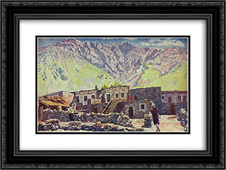 Georgia. Kazbek. Shat-mountain and village 24x18 Black or Gold Ornate Framed and Double Matted Art Print by Ilya Mashkov