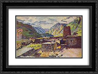 Georgia. Kazbek. View of the gorge Darial 24x18 Black or Gold Ornate Framed and Double Matted Art Print by Ilya Mashkov
