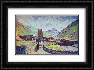 Georgia. Kazbek. View of the mountain Kabardzhino and village 24x18 Black or Gold Ornate Framed and Double Matted Art Print by Ilya Mashkov