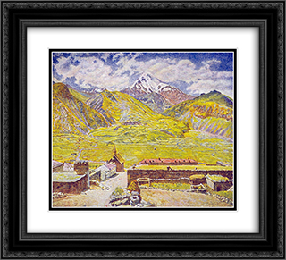 Georgia. Kazbek (day). Georgian Military Road. Mountain and village 22x20 Black or Gold Ornate Framed and Double Matted Art Print by Ilya Mashkov