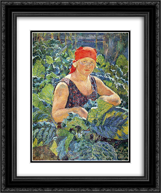 Girl on the tobacco plantations 20x24 Black or Gold Ornate Framed and Double Matted Art Print by Ilya Mashkov