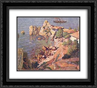 Gurzuf. Views of the Chekhov's house and the beach 22x20 Black or Gold Ornate Framed and Double Matted Art Print by Ilya Mashkov