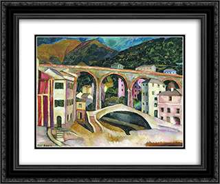 Italy. Nervi. Landscape with aqueduct 24x20 Black or Gold Ornate Framed and Double Matted Art Print by Ilya Mashkov