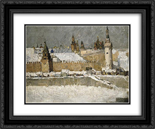 Kremlin in winter 24x20 Black or Gold Ornate Framed and Double Matted Art Print by Ilya Mashkov