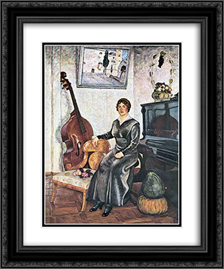 Lady with a contrabass 20x24 Black or Gold Ornate Framed and Double Matted Art Print by Ilya Mashkov