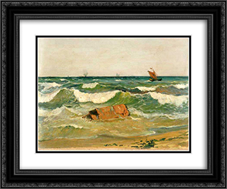 Coast with Waves 24x20 Black or Gold Ornate Framed and Double Matted Art Print by Ioannis Altamouras