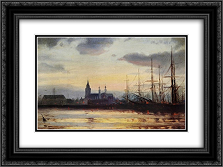 Evening in the Harbour 24x18 Black or Gold Ornate Framed and Double Matted Art Print by Ioannis Altamouras