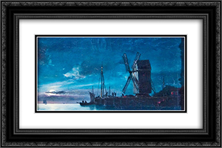 Night View 24x16 Black or Gold Ornate Framed and Double Matted Art Print by Ioannis Altamouras