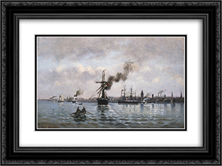 Port of Copenhagen 24x18 Black or Gold Ornate Framed and Double Matted Art Print by Ioannis Altamouras