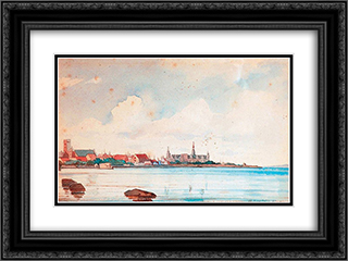 Port of Elsinore 24x18 Black or Gold Ornate Framed and Double Matted Art Print by Ioannis Altamouras