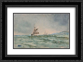 Sailboats 24x18 Black or Gold Ornate Framed and Double Matted Art Print by Ioannis Altamouras