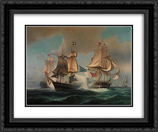 Sea Battle 24x20 Black or Gold Ornate Framed and Double Matted Art Print by Ioannis Altamouras