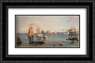 Sea Battle at the Bay of Patrae 24x16 Black or Gold Ornate Framed and Double Matted Art Print by Ioannis Altamouras