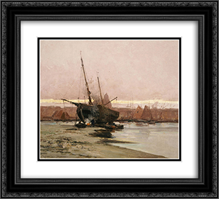 Ship on shore 22x20 Black or Gold Ornate Framed and Double Matted Art Print by Ioannis Altamouras