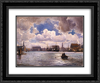 The Port of Copenhagen 24x20 Black or Gold Ornate Framed and Double Matted Art Print by Ioannis Altamouras