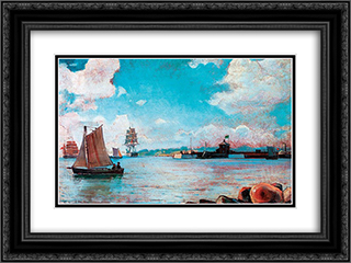 View of the Sea 24x18 Black or Gold Ornate Framed and Double Matted Art Print by Ioannis Altamouras