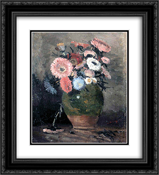 Chrysanthemum 20x22 Black or Gold Ornate Framed and Double Matted Art Print by Ion Andreescu