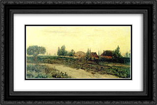 Country Road 24x16 Black or Gold Ornate Framed and Double Matted Art Print by Ion Andreescu