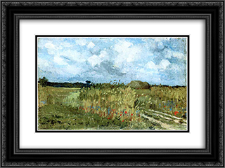 Flowering field 24x18 Black or Gold Ornate Framed and Double Matted Art Print by Ion Andreescu