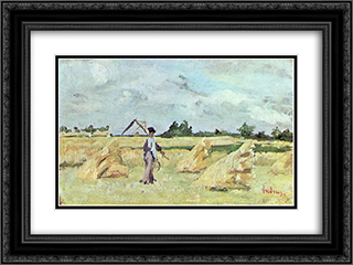 Haymaking 24x18 Black or Gold Ornate Framed and Double Matted Art Print by Ion Andreescu