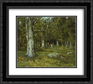 In the Forest 22x20 Black or Gold Ornate Framed and Double Matted Art Print by Ion Andreescu