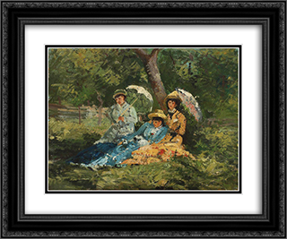 In the Park 24x20 Black or Gold Ornate Framed and Double Matted Art Print by Ion Andreescu