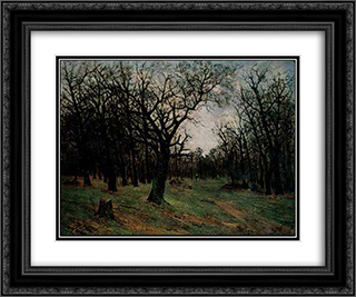 Leafless forest 24x20 Black or Gold Ornate Framed and Double Matted Art Print by Ion Andreescu