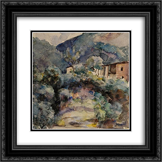 Mountain landscape 20x20 Black or Gold Ornate Framed and Double Matted Art Print by Ion Andreescu