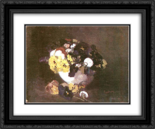 Pansies 24x20 Black or Gold Ornate Framed and Double Matted Art Print by Ion Andreescu