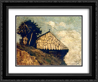 Peasant hut 24x20 Black or Gold Ornate Framed and Double Matted Art Print by Ion Andreescu