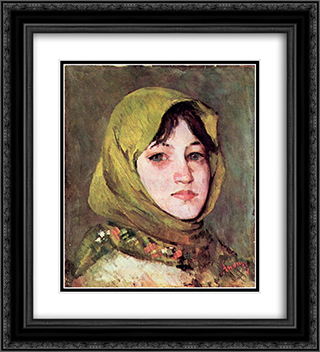 Peasant Woman with Green Headscarf 20x22 Black or Gold Ornate Framed and Double Matted Art Print by Ion Andreescu