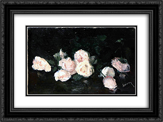 Pink Roses 24x18 Black or Gold Ornate Framed and Double Matted Art Print by Ion Andreescu