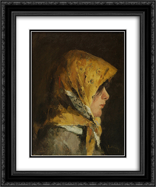 Portrait of a Girl 20x24 Black or Gold Ornate Framed and Double Matted Art Print by Ion Andreescu