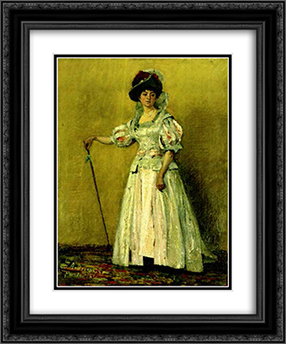 Portrait of woman in a costume 20x24 Black or Gold Ornate Framed and Double Matted Art Print by Ion Andreescu