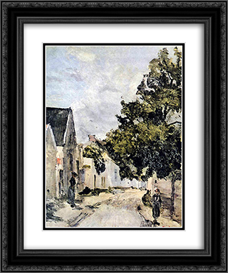 Street from Barbizon during summer time 20x24 Black or Gold Ornate Framed and Double Matted Art Print by Ion Andreescu