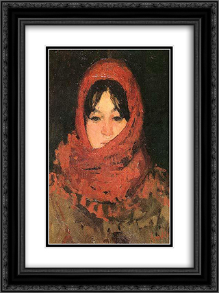 The Red Scarf 18x24 Black or Gold Ornate Framed and Double Matted Art Print by Ion Andreescu