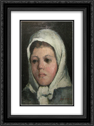 White Headscarf Girl Head 18x24 Black or Gold Ornate Framed and Double Matted Art Print by Ion Andreescu