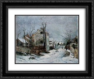 Winter at Barbizon 24x20 Black or Gold Ornate Framed and Double Matted Art Print by Ion Andreescu